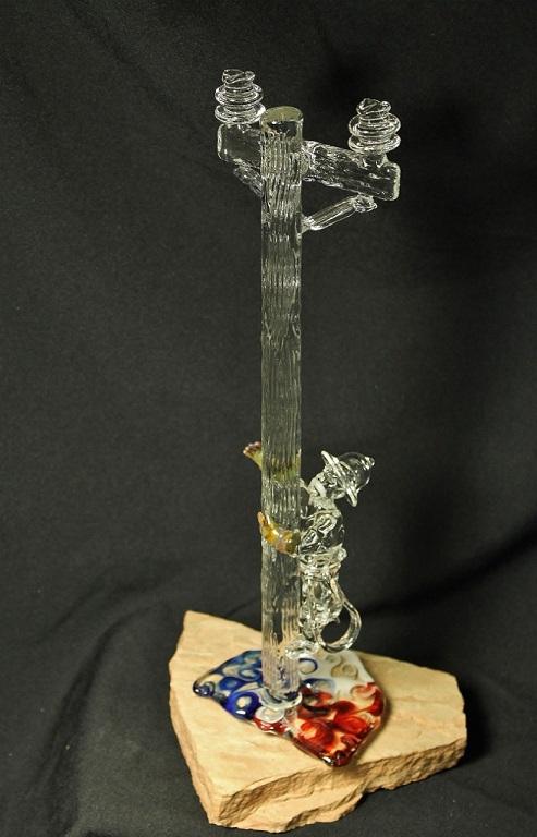Climbing Lineman Glass Sculpture